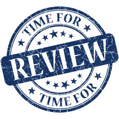 Time for review blue round grungy vintage isolated rubber stamp