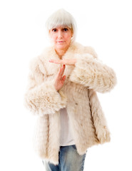 Senior woman making time out signal with hands