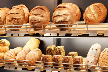 an Assorted kinds of fresh baked bread