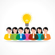 people team with idea bulb stock  vector