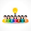 people team with idea bulb stock  vector