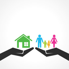 Comparison of home with family stock vector