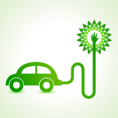 Electric car with green tree concept stock vector