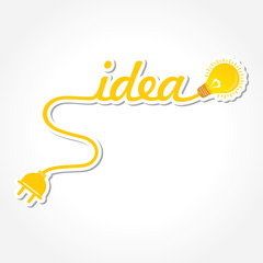 Idea word with light-bulb and electric plug stock vector