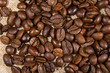 Coffee beans on the natural burlap