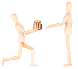 wooden Dummy holding gift with ribbon