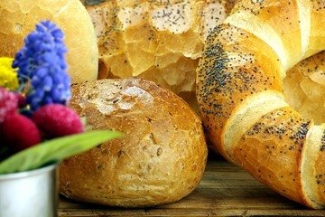 fresh bread, rolls and twirl