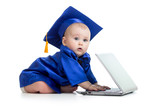 funny baby in academician clothes  using laptop