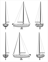 Wireframe design of boat