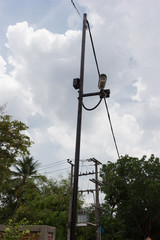 CCTV cameras system installed at the intersection