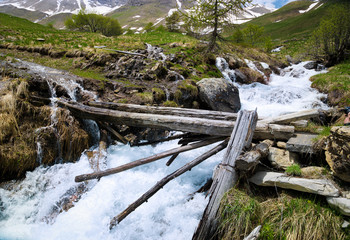 Rapid stream in mountains
