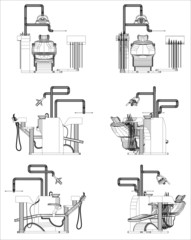 Wireframe design of Dentist chair 3d