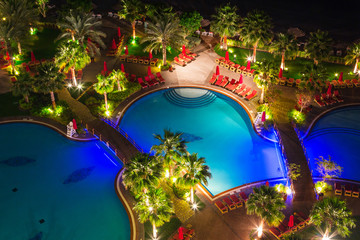 Tropical scenery of Persian Gulf coast at night