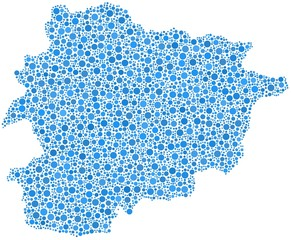 Principality of Andorra - Europe - in a mosaic of blue bubbles
