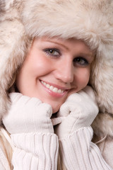 beautiful woman with fur cap