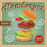 Hamburger retro poster