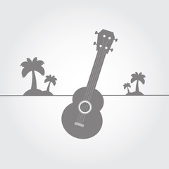 Ukulele on the beach symbol