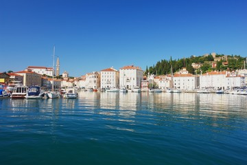 View from the harbor on the city Piran, Slovenia