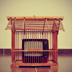television in a birdcage