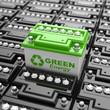 Leinwanddruck Bild - Car battery recycling. Green energy. Background from accumulator