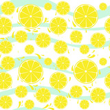 Lemons slices seamless pattern splash on blue white
