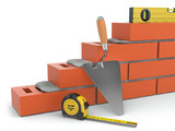 Fototapety Construction concept. Brick wall trowel and level,