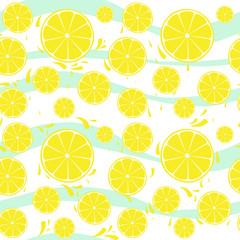 Lemons slices seamless pattern splash on blue white