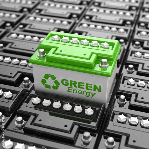 Leinwanddruck Bild Car battery recycling. Green energy. Background from accumulator