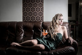 with her cocktail