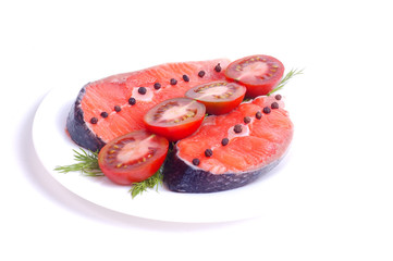 Fresh salmon with tomato