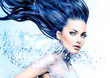 Model girl with water splash collar and long blowing blue hair