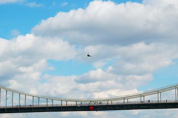 extreme sliding over the bridge