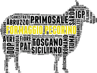 formaggio pecorino italiano tag cloud a forma di pecora