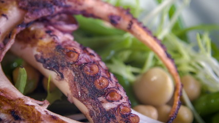 Cold served chickpea-bean salad  with warm grilled octopus