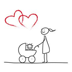 Mutter mit Kleinkind im Kinderwagen