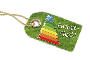 Label mit Wiese und Energiecheck