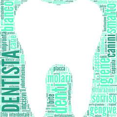 tag cloud odontoiatrico a forma di dente