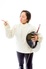 Female fencer pointing