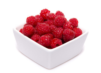 A cup of raspberries