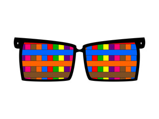 Vintage colored glasses for eyes on white background