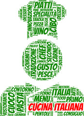 tag cloud con pittogramma di chef italiano