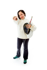 Female fencer pointing towards camera