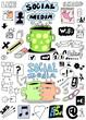 set social media hand drawn sign and symbol doodles elements