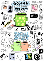set social media hand drawn sign and symbol doodles elements