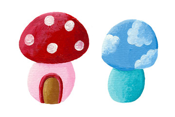 Two fairy tales mushrooms