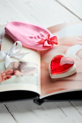 Baby's photobook and a footprint keepsake