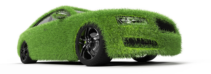 3d rendered illustration of a car covered in grass