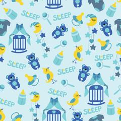 Baby boyl cute seamless pattern. Sleep newborn items collection