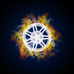 Disc from wheel in the colored smoke