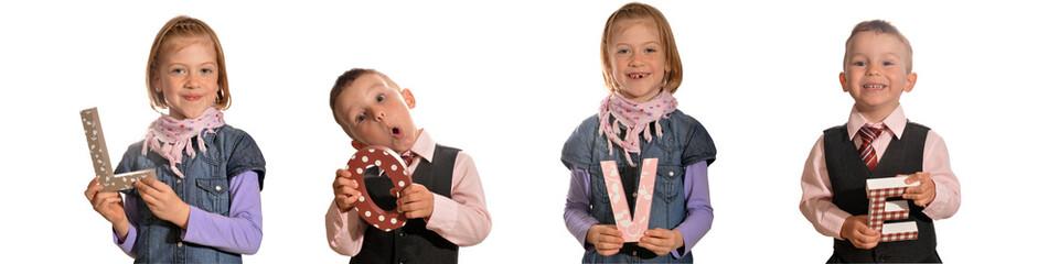 süße Kinder halten Love Buchstaben